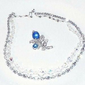 Vintage Coro Pin WEISS Swarovsky Bead Necklaces